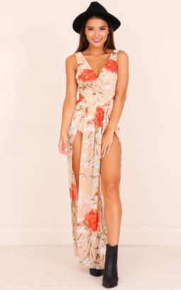 Showpo Give You Up dress in beige floral Casual Dresses