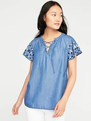 Relaxed Lace-Up Neck Chambray Top for Women $32.99 thestylecure.com