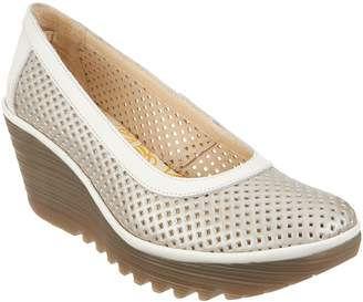 Fly London Perforated Leather Wedge Pumps - Yobe