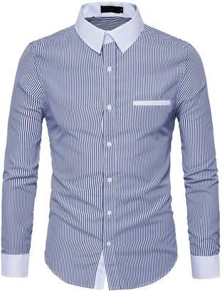Cottory Men's Fitted Spread-Collar Facker Breast Pocket Stripe Dress Shirt Light Blue