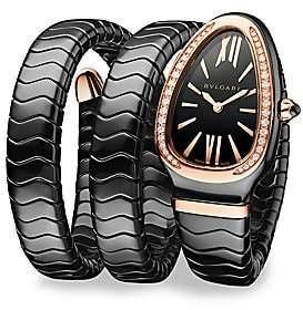 Bvlgari Women's Serpenti Black Ceramic & 18K Rose Gold Double Twist Bracelet Watch