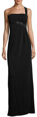Armani Collezioni Sequined One-Shoulder Jersey Gown, Black