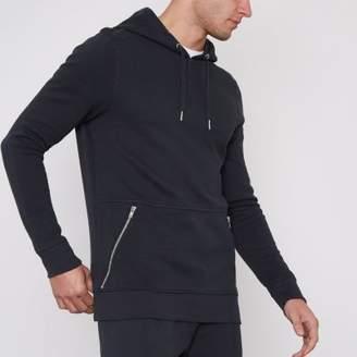 River Island Navy pique zip pocket muscle fit hoodie