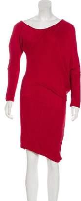 Jay Ahr Asymmetrical Long Sleeve Midi Dress