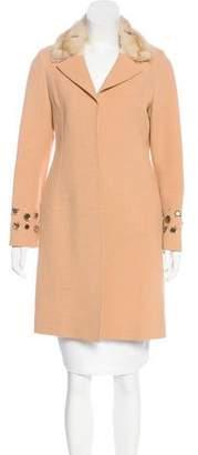 J. Mendel Fur-Trimmed Embellished Coat