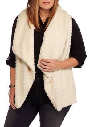 Maxwell Studio Women's Plus-Size Textured Chevron Faux Fur Vest
