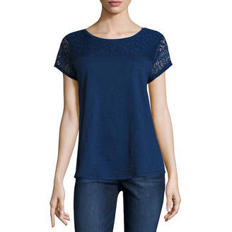 Liz Claiborne Short Sleeve Lace Yoke T-Shirt