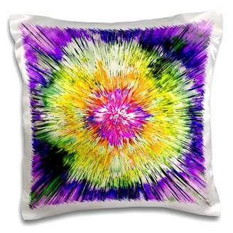 3dRose Textured Retro Tie Die - colorful tie dye design with texture - Pillow Case, 16 by 16-inch