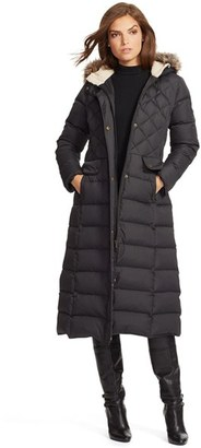 Women's Lauren Ralph Lauren Faux Fur Trim Hooded Long Down & Feather Fill Coat $390 thestylecure.com