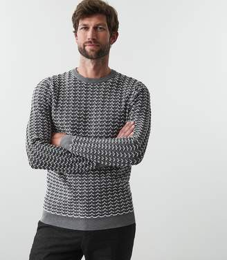 Reiss SAMPSON STITCH DETAIL CREW NECK JUMPER Grey