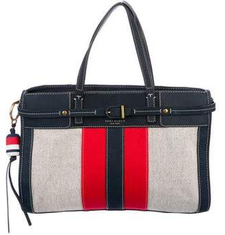 Tory Burch Striped Canvas & Suede Tote