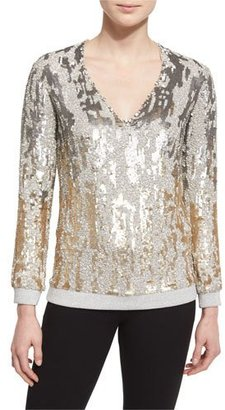 Jenny Packham Long-Sleeve Sequined Burnout Top, Dawn Gold $2,400 thestylecure.com