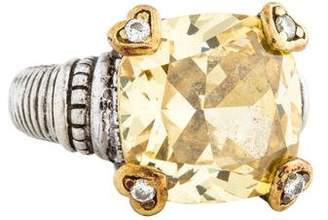 Judith Ripka Canary Crystal & Diamond Cocktail Ring