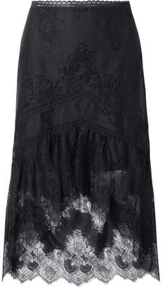 Alice + Olivia Alice Olivia - Triss Asymmetric Tulle And Lace Midi Skirt - Black