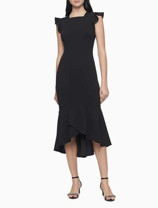 Calvin Klein Flutter Sleeve Square Neck Midi Dress