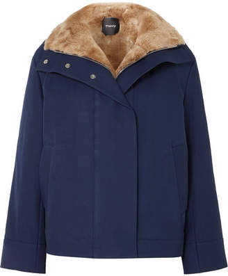 Theory Shearling-trimmed Cotton-twill Coat - Navy
