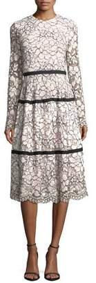 Lela Rose Long-Sleeve Tiered Lace Midi Dress