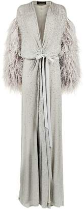 Jenny Packham Embellished Feather Robe Gown