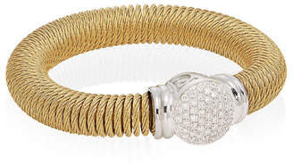 Alor 18K Yellow Gold & Diamond Stainless Steel Coil Bracelet