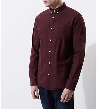 River Island Burgundy long sleeve Oxford shirt