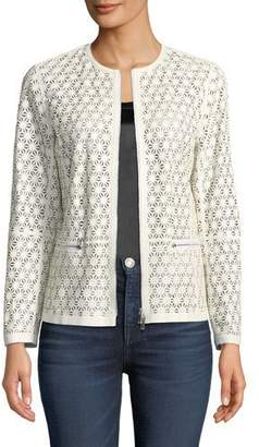 Lafayette 148 New York Kerrington Laser-Cut Leather Topper Jacket