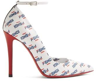 Fendi Mania Logo Print Leather Pumps - Womens - White Multi