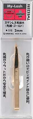 My-Lash ステンレス毛抜き(先細) ゴールド 先幅2mm MI-224