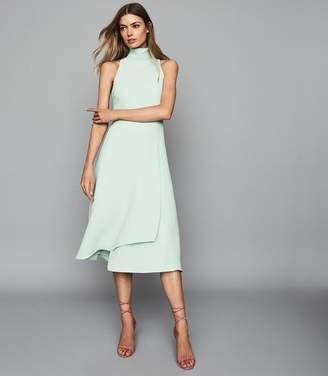 Reiss DORIANA OPEN BACK FIT AND FLARE DRESS Mint