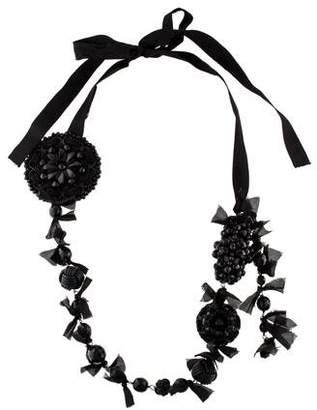 Prada Leather & Beaded Ribbon Necklace