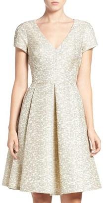 Women's Eliza J Metallic Jacquard Fit & Flare Dress $148 thestylecure.com