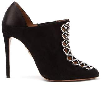 Aquazzura Amour 105 Suede And Satin Booties - Womens - Black