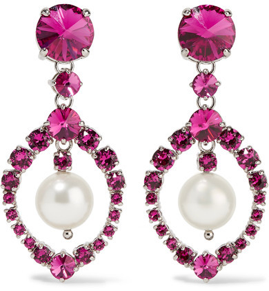Miu Miu Miu Miu - Silver-tone, Crystal And Faux Pearl Clip Earrings - Fuchsia