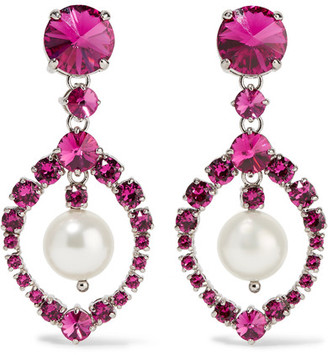 Silver-tone, Crystal And Faux Pearl Clip Earrings - Fuchsia