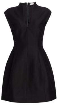 Halston Faille Cap-Sleeve Dress