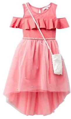 Love, Jayne Off-the-Shoulder Pearl Embellished Dress with Accessory Bag (Big Girls)