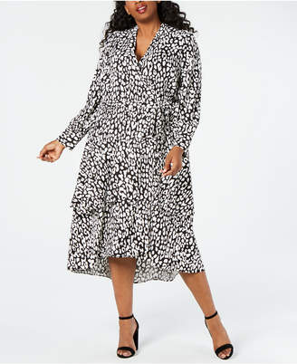 Calvin Klein Plus Size Animal-Print Wrap Midi Dress