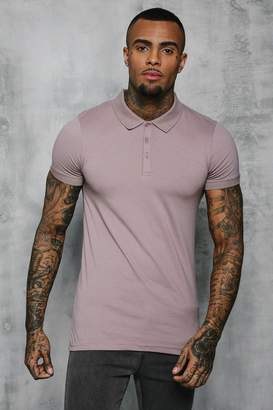 boohoo Short Sleeve Muscle Fit Polo