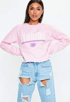 Missguided Pink Florida Graphic Cropped Sweatshirt