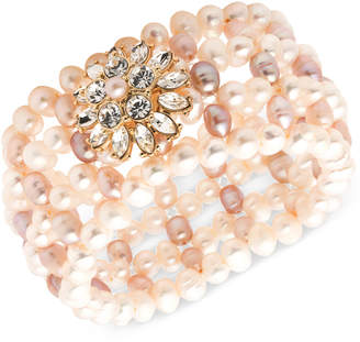 Carolee Gold-Tone Crystal & Pink Imitation Pearl Flower Woven Stretch Bracelet