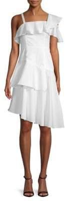KENDALL + KYLIE One-Shoulder Flutter Fit-and-Flare Dress