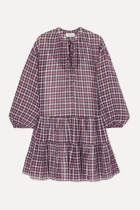 The Great The Timber Ruffled Checked Cotton Dress - Navy