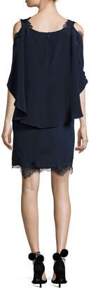 Neiman Marcus Kobi Halperin Fiora Cold-Shoulder Silk Popover Cocktail Dress