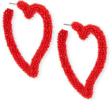 Sachin + Babi Seed Bead Heart Hoop Earrings, Gojiberry Red