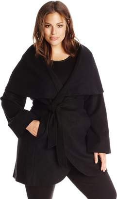 T Tahari Women's Plus-Size Marla Oversized Coat