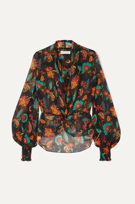 Caroline Constas Bette Shirred Floral-print Silk-chiffon Blouse - Black