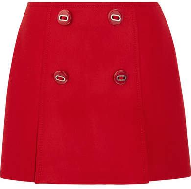 Prada - Button-embellished Wool Mini Skirt - Red