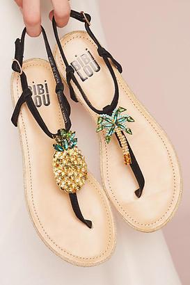 Bibi Lou Pinapple Palm Sandals $118 thestylecure.com