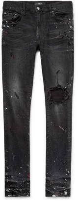 Amiri Skinny-Fit Distressed Embellished Stretch-Denim Jeans