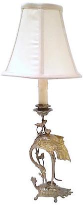 One Kings Lane Vintage Antique Brass Crane & Turtle Lamp - Vermilion Designs