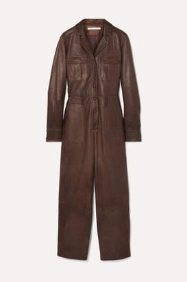 Veronica Beard Artemis Leather Jumpsuit - Brown